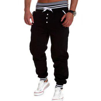 Fashion Lace-Up Button Embellished Rib Splicing Loose Fit Beam Feet Men's Polyester Sweatpants