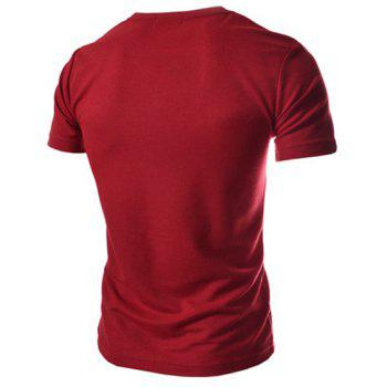 Fashion Button Embellished Color Splicing V-Neck Short Sleeve Slimming Men's Polyester T-Shirt - RED RED