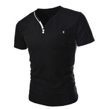 Fashion Button Embellished Color Splicing V-Neck Short Sleeve Slimming Men's Polyester T-Shirt - BLACK BLACK