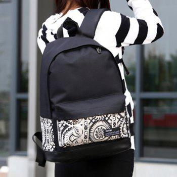 Retro Canvas and Floral Print Design Satchel For Women - WHITE