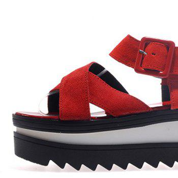 Fashionable Suede and Buckle Design Sandals For Women - RED 36