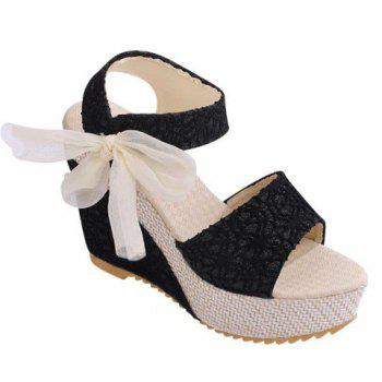 Trendy Embossing and Bowknot Design Wedge Heel Sandals For Women