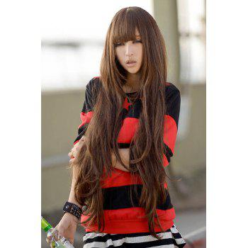 Trendy Full Bang Synthetic Light Brown Fluffy Long Wavy Charming Women's Wig - LIGHT BROWN