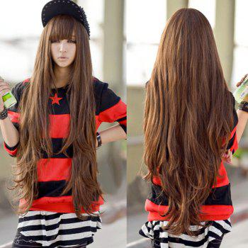 Trendy Full Bang Synthetic Light Brown Fluffy Long Wavy Charming Women's Wig