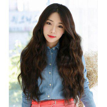 Trendy Synthetic Side Bang Deep Brown Long Curly Ladylike Women's Wig -  DEEP BROWN
