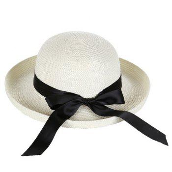 Chic Black Bow Ribbon Embellished Flanging Women's Straw Hat - WHITE WHITE