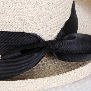 Chic Black Bow Ribbon Embellished Flanging Women's Straw Hat -  WHITE