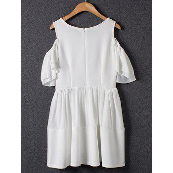 Sweet Off The Shoulder Round Collar Short Sleeve Dress For Women - WHITE WHITE
