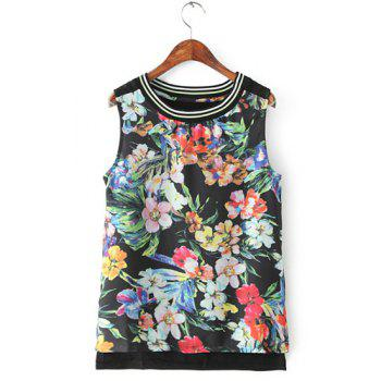 Refreshing Floral Print Round Neck Sleeveless T-Shirt For Women