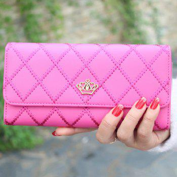 Fashion Checked and Crown Design Clutch Wallet For Women
