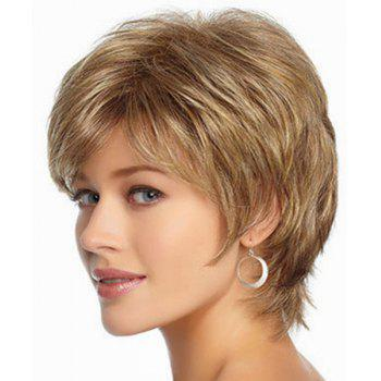 Trendy Synthetic Gold Mixed Brown Fluffy Short Wave Side Bang Charming Women's Capless Wig -  COLORMIX