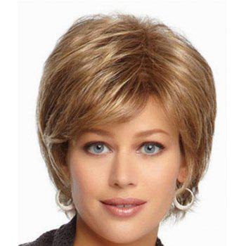 Trendy Synthetic Gold Mixed Brown Fluffy Short Wave Side Bang Charming Women's Capless Wig - COLORMIX COLORMIX