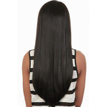 Trendy Synthetic Black Long Straight Side Bang Charming Women's Capless Wig -  BLACK