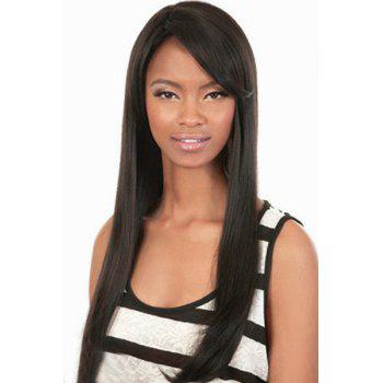 Trendy Synthetic Black Long Straight Side Bang Charming Women's Capless Wig - BLACK BLACK