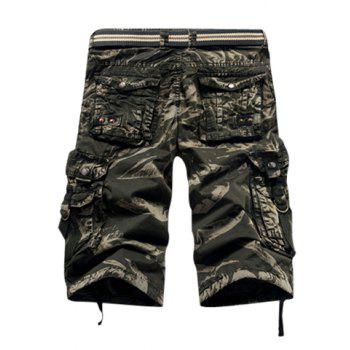 Fashion Camo Design Multi-Pocket Military Style Straight Leg Men's Cotton Blend Shorts - 30 30