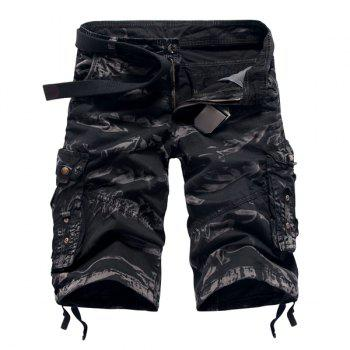 Fashion Camo Design Multi-Pocket Military Style Straight Leg Men's Cotton Blend Shorts