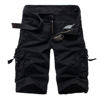 Fashion Multi-Pocket Solid Color Military Style Straight Leg Men's Cotton Blend Shorts