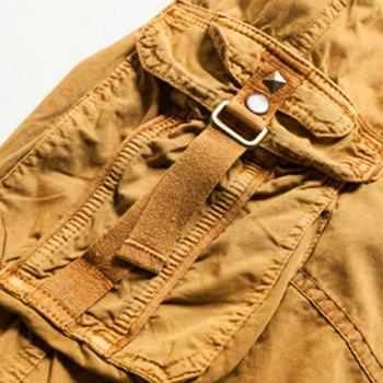 Fashion Multi-Pocket Solid Color Military Style Straight Leg Men's Cotton Blend Shorts - 38 38