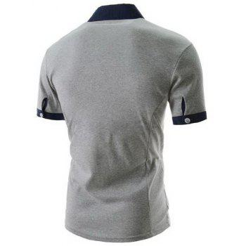Trendy Anchor Embroidery Color Block Splicing Turndown Collar Short Sleeve Slimming Men's Polyester Polo T-Shirt - LIGHT GRAY L