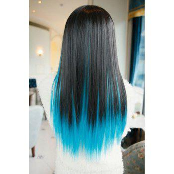 High Quality Harajuku Style Full Bang Layered Black Gradient Blue Long Straight Cosplay Wig - OMBRE 2