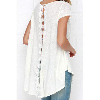 Stylish White Short Sleeve With Lace High Low Women's T-shirt - WHITE WHITE