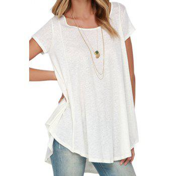 Stylish White Short Sleeve With Lace High Low Women's T-shirt