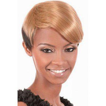 Trendy Synthetic Blonde to Deep Brown Ombre Short Straight Side Bang Sparkling Women's Capless Wig