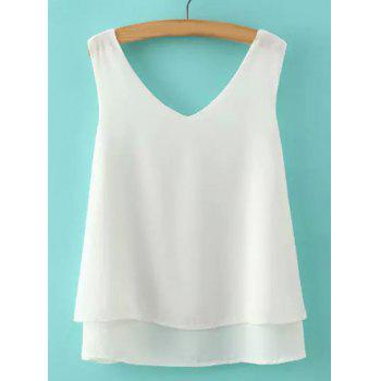 Brief Sleeveless V-Neck Double-Layer Solid Color Women's Tank Top