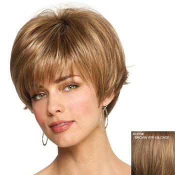 Capless Professional Hairstyle Side Bang Fluffy Short Straight Fashion Women's Human Hair Wig