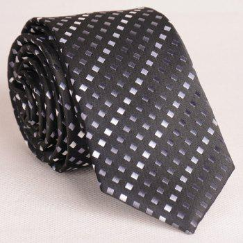 Fashionable Tiny Black and Grey Grid Pattern Thin Neck Tie For Men