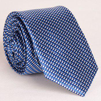 Noble Full Tiny Blue Grid Pattern Neck Tie For Men - PURPLISH BLUE PURPLISH BLUE