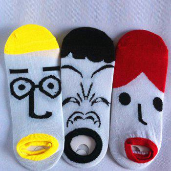Pair of Stylish Cartoon Facial Expression Pattern Men's Socks