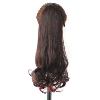 Fluffy Stylish Long Big Wavy Charming Deep Brown Mixed Red Synthetic Women's Ponytail