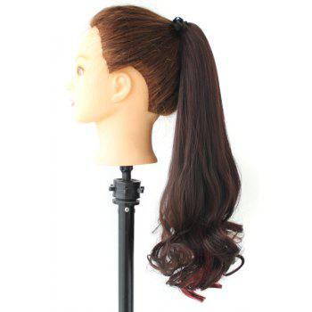 Fluffy Stylish Long Big Wavy Charming Deep Brown Mixed Red Synthetic Women's Ponytail -