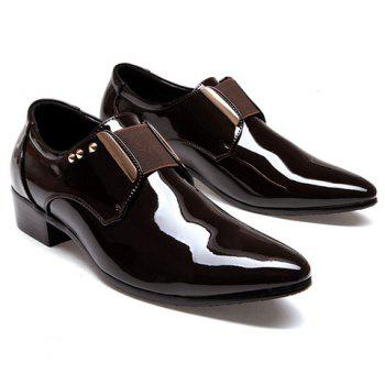 Fashion Patent Leather and Rivets Design Formal Shoes For Men - BROWN 41