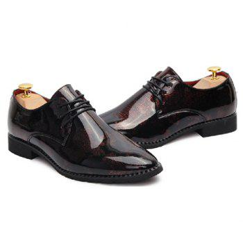 Stylish Pointed Toe and Patent Leather Design Formal Shoes For Men - ROSE 43