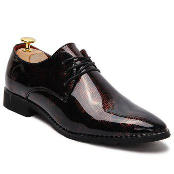 Stylish Pointed Toe and Patent Leather Design Formal Shoes For Men