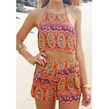 Fashionable Halter Full Print Cut Out Women's Romper