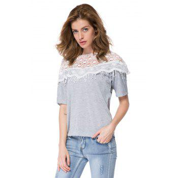 Lace Cutout Shirt Women Handmade Crochet Cape Collar Batwing Sleeve T-Shirt - M M