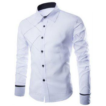 Trendy Checked Sutures Design Shirt Collar Long Sleeve Slimming Men's Polyester Shirt - WHITE M