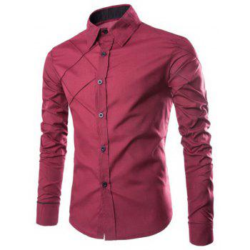 Trendy Checked Sutures Design Shirt Collar Long Sleeve Slimming Men's Polyester Shirt - WINE RED L