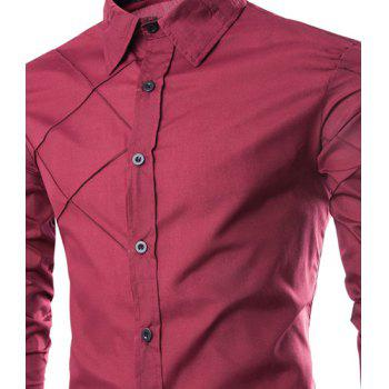 Trendy Checked Sutures Design Shirt Collar Long Sleeve Slimming Men's Polyester Shirt - L L