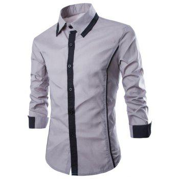 Trendy Color Block Fake Tie Design Shirt Collar Long Sleeve Slimming Men's Polyester Shirt - GRAY XL