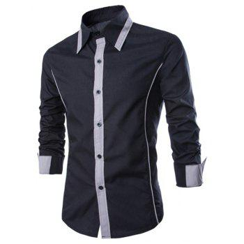 Trendy Color Block Fake Tie Design Shirt Collar Long Sleeve Slimming Men's Polyester Shirt - BLACK L