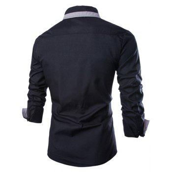 Trendy Color Block Fake Tie Design Shirt Collar Long Sleeve Slimming Men's Polyester Shirt - 2XL 2XL