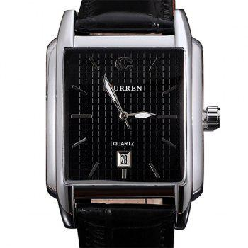 Curren 8097 Strips Hour Marks Leather Wrist Watch with Calendar Function for Men - BLACK BLACK