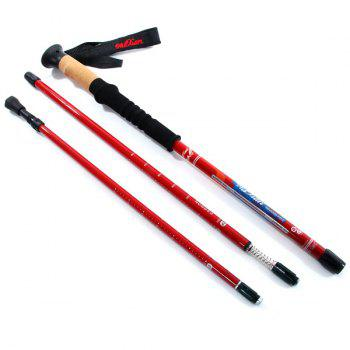Adjustable Wuxian Straight Shank Super Light Trekking Pole Carbon 80 Percent Mountaineering Pole for Outdoor Sports Fans -  RED