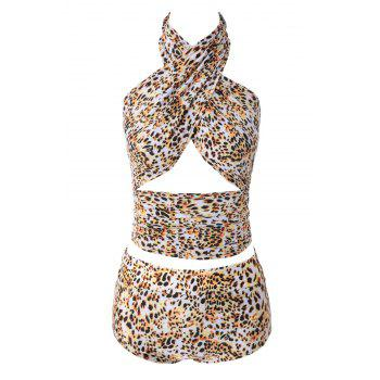 Sexy Halter Leopard Print High Waisted Women's Bikini Set