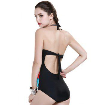 Fashionable Openwork Tie-Up One-Piece Swimwear For Women - COLORFUL COLORFUL
