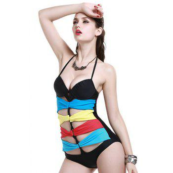Fashionable Openwork Tie-Up One-Piece Swimwear For Women - COLORFUL 2XL